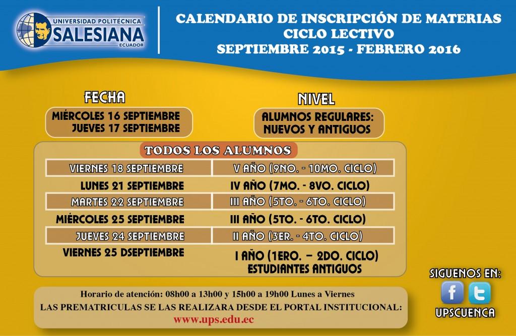 Calendario Matriculas 2015-2016